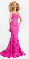 Terani Couture Illusion Sweetheart Embellished Lace Prom Dress
