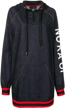 NO KA 'OI Printed Stripe Trim Zip Hoodie Dress
