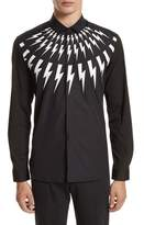 Neil Barrett Men's Trim Fit Thunderbolt Graphic Sport Shirt