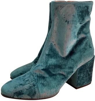 Dries Van Noten Green Velvet Ankle boots