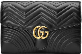 Gucci GG Marmont Chevron Quilted Leather Flap Clutch Bag