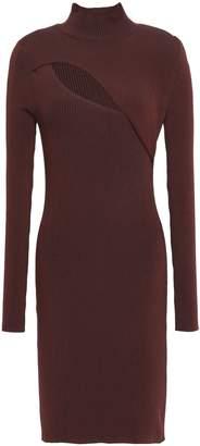 Thierry Mugler Cutout Ribbed-knit Turtleneck Mini Dress