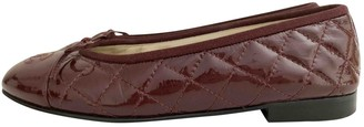 Chanel Burgundy Patent leather Ballet flats