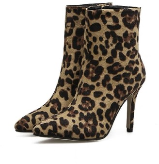 Goodnight Macaroon 'Laramae' Leopard Print Pointed Toe Heeled Boots