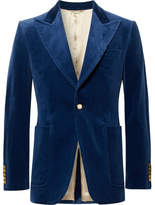 Gucci Royal-Blue Slim-Fit Stretch Cotton and Modal-Blend Velvet Blazer
