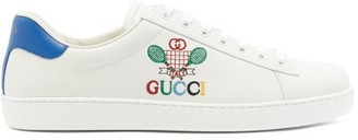 Gucci New Ace Tennis Logo-embroidered Leather Trainers - Mens - White