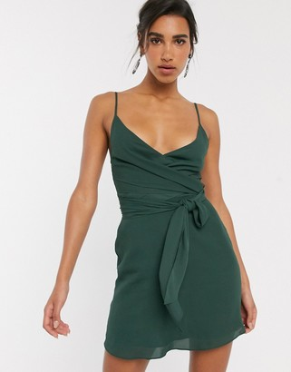 Asos DESIGN cami wrap mini dress with tie waist