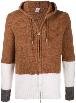Eleventy Colour-Block Zip-Through Hooded Sweater