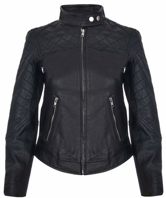 Infinity Leather Ladies Leather Jacket Classic Biker Style Moto Black Real Nappa Womens Jacket S