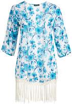 Chloé Alisha & Women's Kimono Cardigans 1000 - Blue Floral Fringe-Trim Kimono - Women