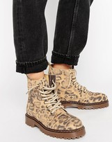 Park Lane Chunky Sole Lace Up Leopard Boot