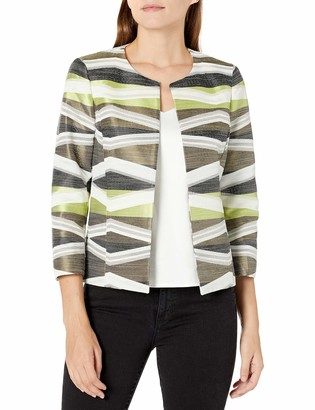 Kasper Women's Plus Size Open Front Jacquard Jacket