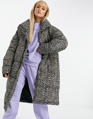 Sixth June oversized puffer jacket in leopard print with faux-fur hood