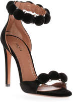 Alaia Black velvet bomb sandal