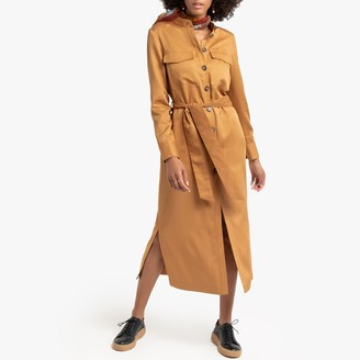 La Redoute Collections Midi Utility Shirt Dress with Tie-Waist