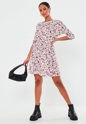 Missguided Petite Blue Floral Gathered Waist Mini Dress