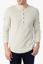 7 For All Mankind Long Sleeve Henley Thermal In Ecru