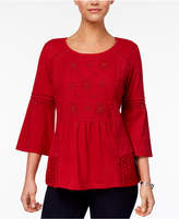 Style and Co Petite Embroidered Lantern-Sleeve Top, Created for Macy's