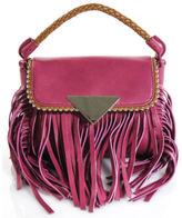 Sara Battaglia NEW Magenta Leather Gold Tone Fringed Mini Amber Flap Handbag