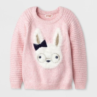 Cat & Jack Toddler Girls' Crew Neck Bunny Pullover With Texture Sleeves - Cat & JackTM