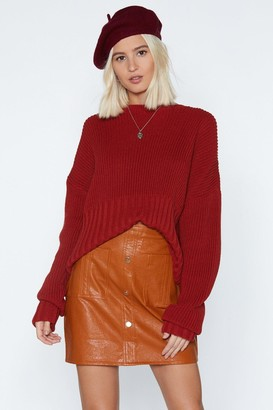 Nasty Gal Womens Button-Down on Me Faux Leather Skirt - brown - 6