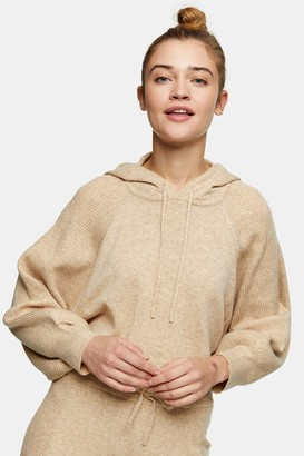 Topshop Womens Oat Knitted Hoodie With Wool - Oatmeal