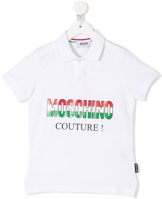 MOSCHINO BAMBINO Italian logo print polo shirt