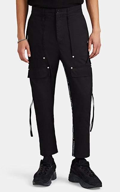 Stampd Men's Logo-Striped Cotton Twill Cargo Trousers - Black