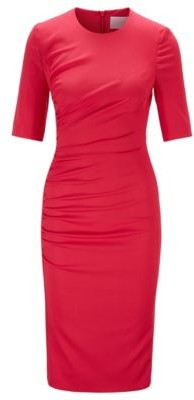 HUGO BOSS Stretch Wool Sheath Dress With Ruching Detail - Pink