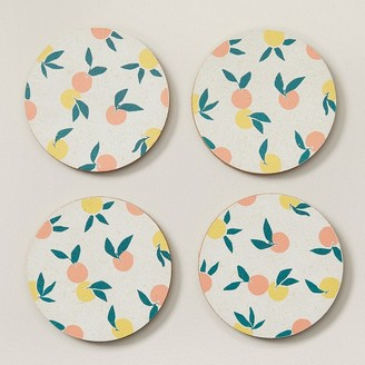 Indigo Printed Oranges Cork Coasters Set Of 4
