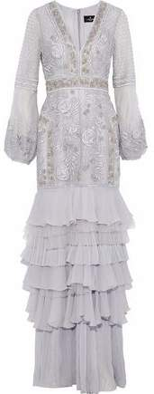 J. Mendel J.mendel Tiered Embellished Tulle And Silk-Chiffon Gown