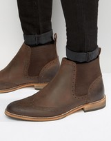 Asos Chelsea Boot In Brown Leather With Natural Sole