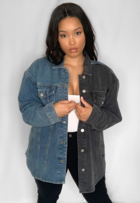 Missguided Plus Size Blue Colour Block Curved Hem Denim Jacket