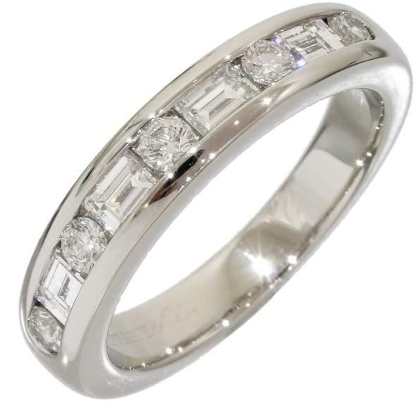 Tiffany & Co. Platinum Half Eternity Diamond Ring Size 3.75