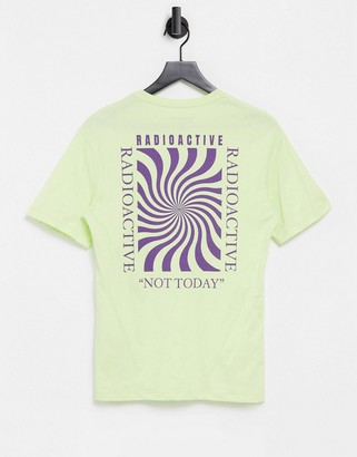 Jack and Jones Originals oversize t-shirt with swirl back print in lime