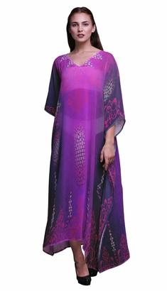 Phagun Paisley Ethnic Ladies Kaftan Holiday Loungewear Maxi Dress Beach Coverup-4X5X Purple