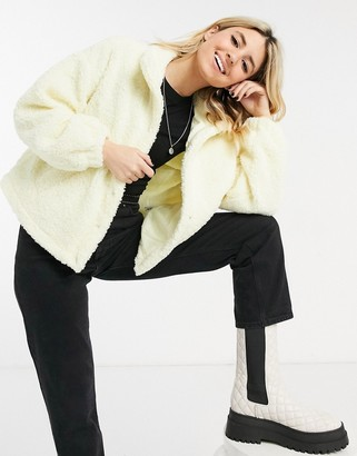 ASOS DESIGN fleece cropped jacket in pale yellow