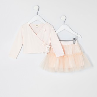River Island Mini girls Pink tutu and wrap top outfit