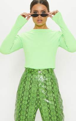 PrettyLittleThing Neon Lime Rib Crew Neck Long Sleeve Top