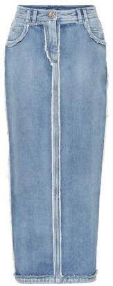 Balmain High-rise frayed denim midi skirt