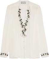Paul & Joe Ruffled Lace-trimmed Embellished Silk Crepe De Chine Blouse - White