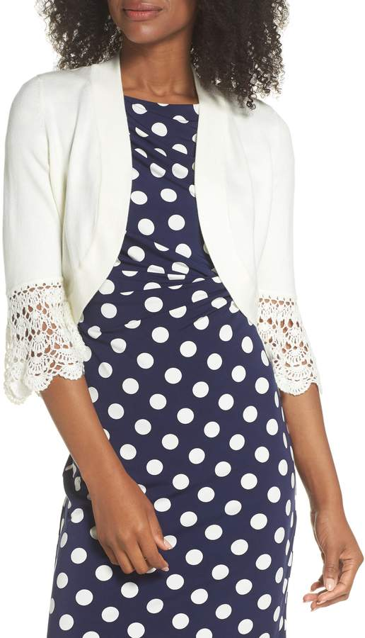 Eliza J Crochet Sleeve Bolero Cardigan