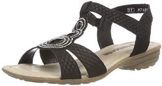 Remonte Women's R3641 T-Bar Sandals, Black Schwarz 02