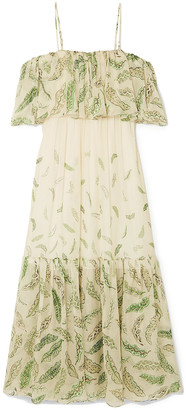 Three Graces London + Zandra Rhodes Diana Cold-shoulder Ruffled Printed Silk-chiffon Dress