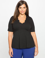 ELOQUII Plus Size Scallop Neckline Empire Flare Top