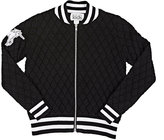Autumn Cashmere Cotton-Blend Diamond-Quilted Bomber Jacket-BLACK