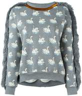 Stella McCartney duck print fringed sweatshirt