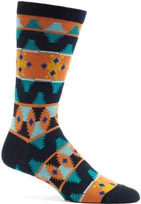 Ozone Men's Socks 14 - Navy & Orange Moroccan Waves Socks - Men