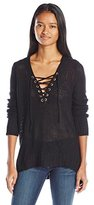 Amy Byer A. Byer Juniors Long Sleeve High-Low Sweater with V-Neck Lace up Detail