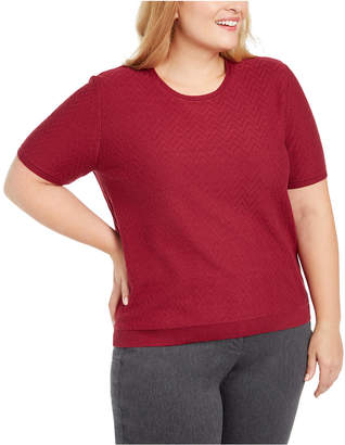 Alfred Dunner Plus Size Classics Short-Sleeve Sweater